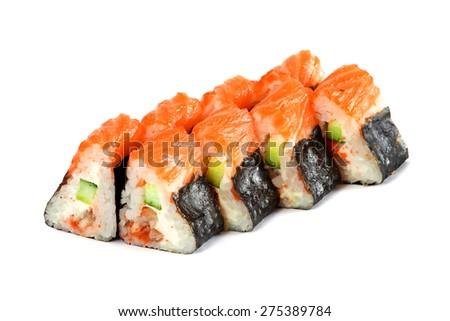 Sushi Roll - Maki Sushi made of Smoked Eel, Avocado, Cucumber, Cream Cheese and Tamago, isolated on white background. Fresh Salmon outside - stock photo