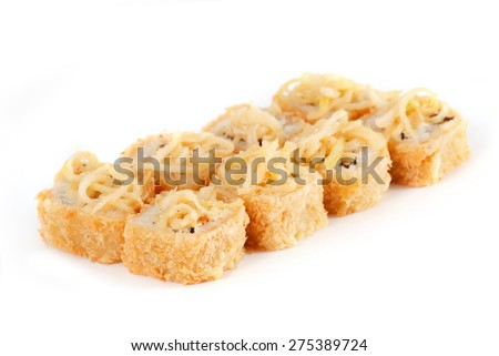 Sushi Roll - Maki Sushi made of Smoked Eel, Cream Cheese, Salmon, Avocado, and Onion Fries isolated on white background - stock photo
