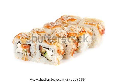Sushi Roll - Maki Sushi made of Smoked Eel, Salmon, Sesame, Cream Cheese and Deep Fried Vegetables inside, isolated on white background - stock photo