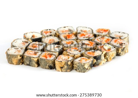 Sushi Roll - Maki Sushi pieces collection with Salmon Roe, Smoked Eel, Cucumber, Cream Cheese, Sesame, Avocado, Onion Fries, Crab Meat, Tobiko isolated on white background - stock photo