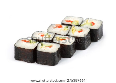 Sushi Roll - Maki Sushi Vegetarian with Cucumber, Red Pepper, Cabbage and Cream Cheese isolated on white background