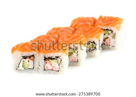 Sushi Roll - Maki Sushi with Crab Meat, Avocado, Cucumber, Cream Cheese and Tamago isolated on white background. Fresh Salmon outside - stock photo