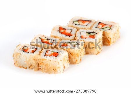 Sushi Roll - Maki Sushi with Salmon Roe, Smoked Eel, Cucumber, Cream Cheese in Chips Tuna isolated on white background - stock photo