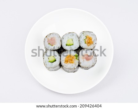 Sushi roll on white background - stock photo