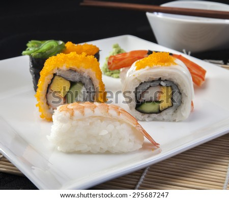Sushi roll on white plate, closeup