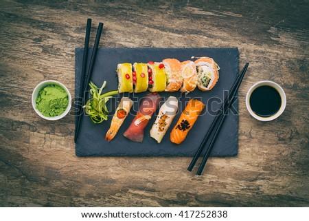 sushi roll raw makki fresh food seafood susi - stock image - stock photo