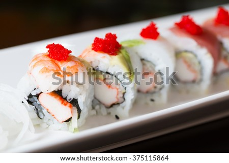 Sushi roll with salmon - stock photo