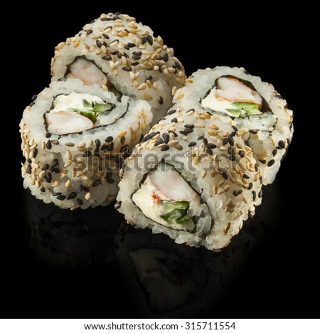Sushi roll with shrimp���  and cucumber - stock photo