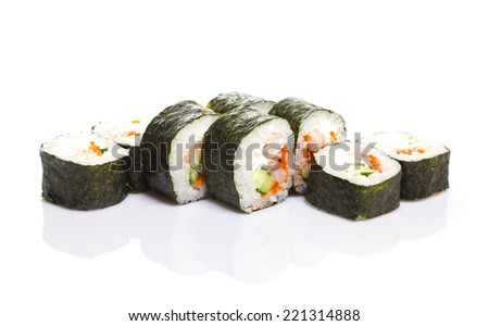 Sushi roll with shrimp isolated on white background