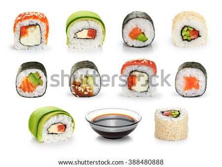 Sushi rolls and soy sauce isolated on white background. Collection. - stock photo