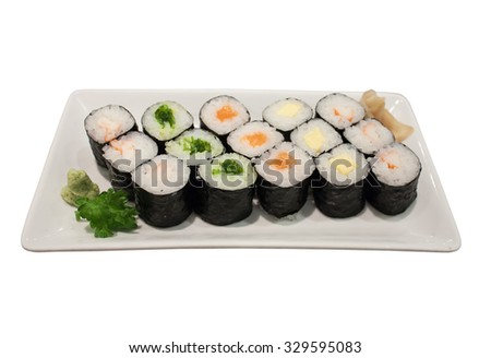 Sushi rolls on a plate isolated on white background