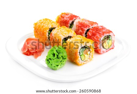 Sushi rolls on plate isolated on white - stock photo