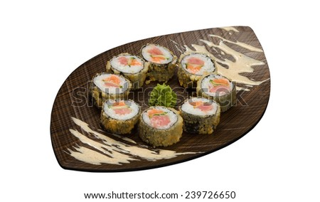 Sushi rolls on wooden plate isolated on white background