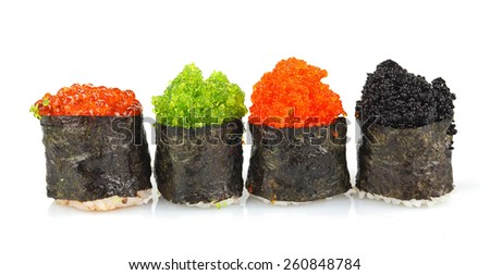 Sushi rolls set with black and  red roe - stock photo