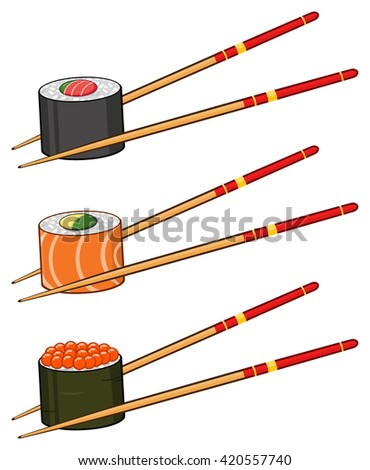 Sushi Rolls With Caviar And Chopsticks.Set Raster Collection Isolated On White - stock photo