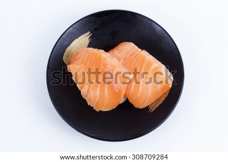 Sushi Salmon on the Plate (Top view) white background - stock photo