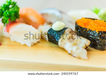 Sushi sashimi japanese food - soft effect style pictures - selective focus point