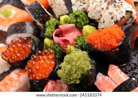 Sushi set : Assorted sushi platter selection - stock photo