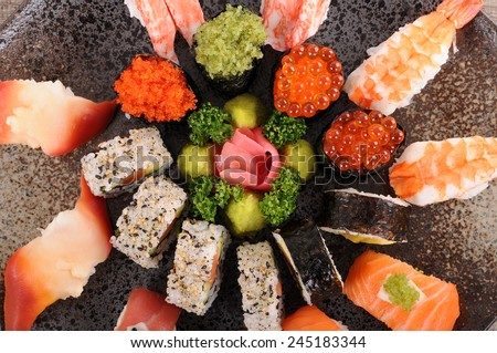 Sushi set : Assorted sushi platter selection. Top view. - stock photo