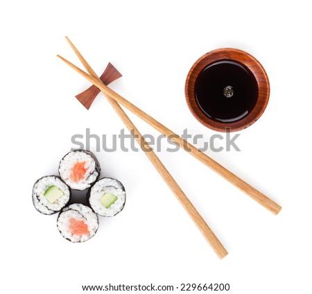 Sushi set, chopsticks and soy sauce. Isolated on white background - stock photo