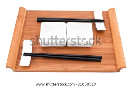 Sushi set for two person on white background