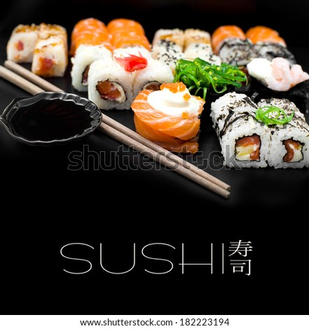 Sushi set isolaterd  on black background - stock photo