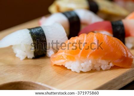 Sushi set, Japanese food - stock photo