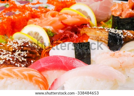 sushi, set of sushi, various sushi, set of sushi on a plate in a single, macro sushi, healthy food, fish, fresh fish, sushi from Japan, sushi menu
