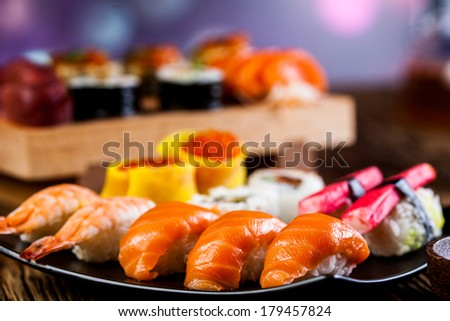 Sushi set on the wooden table