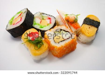 sushi set on white background - stock photo