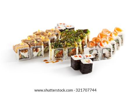 Sushi Set over White Background - stock photo