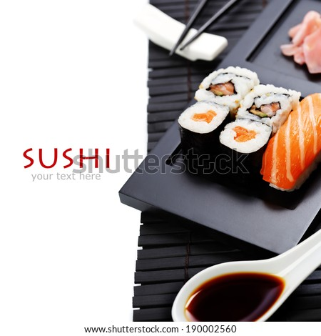 Sushi set served on a plate - stock photo