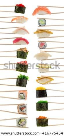 Sushi set with chopsticks isolated on white background - stock photo