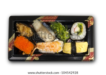 Sushi set with clipping path