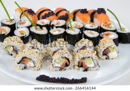 Sushi - traditional Japanese dish  - stock photo