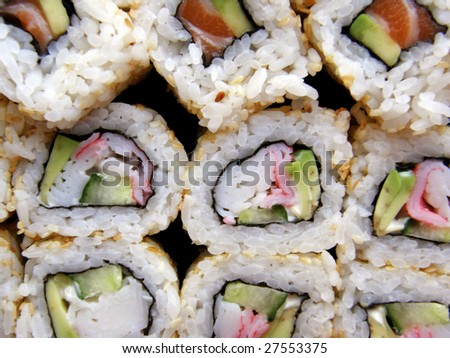 Sushi, traditional japanese food, home sushi