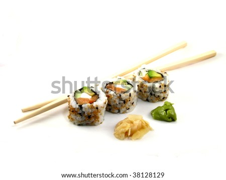 Sushi with copsticks, wasabi and pickled ginger - stock photo