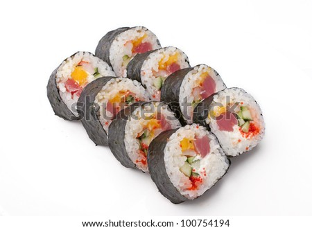 Sushi with fish and cucumber