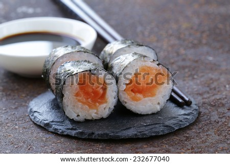 sushi with salmon - traditional Japanese food - stock photo