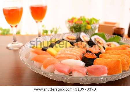 Sushi with wine