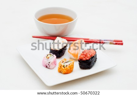 sushia and tea - stock photo