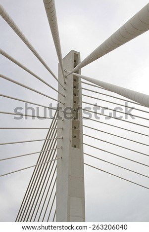 Suspended bridge pillar with cables in Podgorica