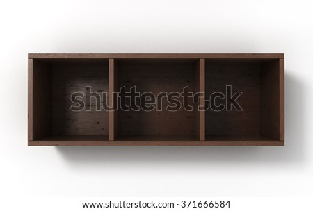Suspended dark shelves with three sections isolated on white background - stock photo