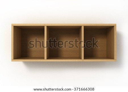 Suspended light shelves with three sections isolated on white background - stock photo