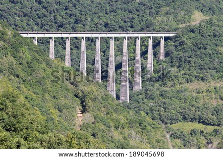 Suspended train track over forest in Brazil. - stock photo