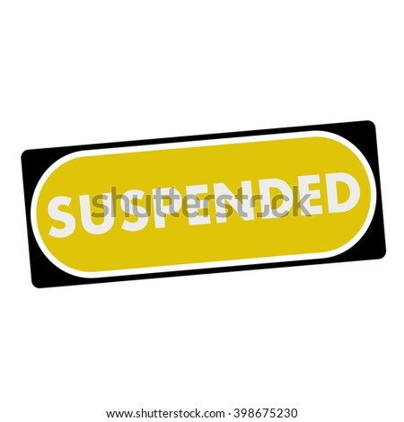 suspended white wording on yellow background  black frame