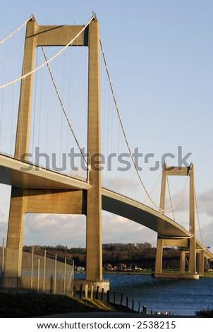 Suspension Bridge High Up - stock photo