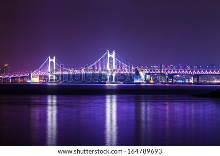 Suspension bridge in Busan at night