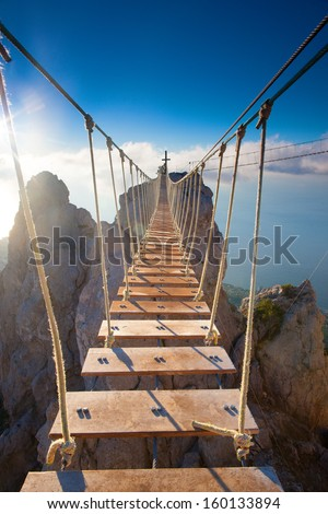 Suspension bridge in mountain
