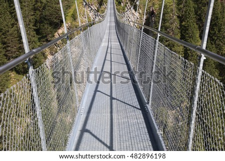 Suspension Bridge near Holzgau in Lech Valley. Tirol. Austria